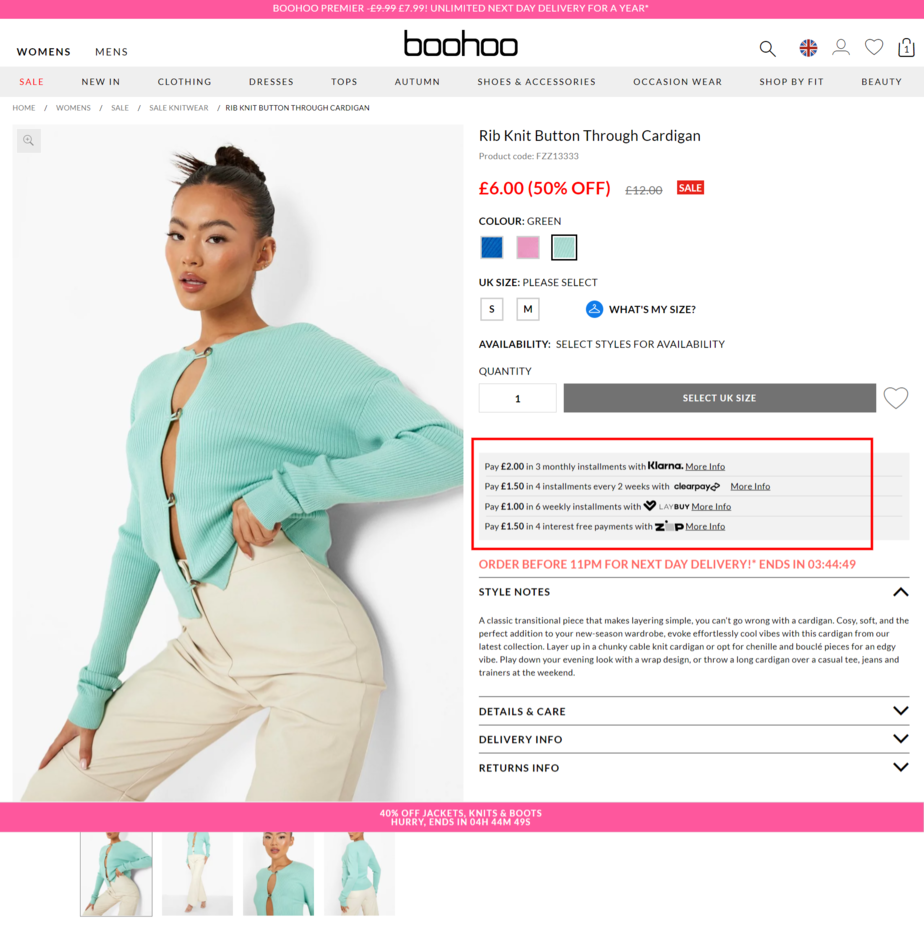 reduce abandoned checkouts by offering payments in instalments with Klarna - like Boohoo